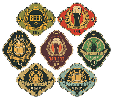set of ornate beer labels in retro style