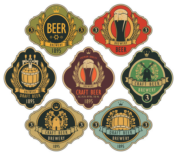 set of ornate beer labels in retro style Vector set of ornate beer labels in figured frames with barrel, beer glass, mill, laurel wreath, ears of wheat and crown in retro style. ale stock illustrations