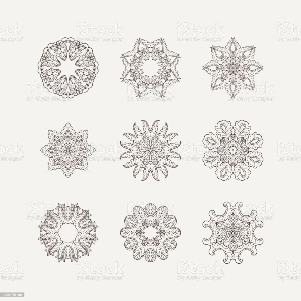 Ensemble De Symboles Du Mandala Orne De Vecteur Tatouage De Mehndi