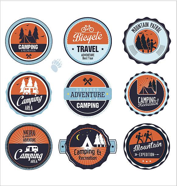 Set of outdoor adventure blue and orange labels vector art illustration