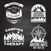 Set of outdoor adventure inspirational quote. Vector illustration. Concept for shirt, logo, print, stamp or tee. Vintage typography design with camper tent, mountain, forest, camper trailer silhouette