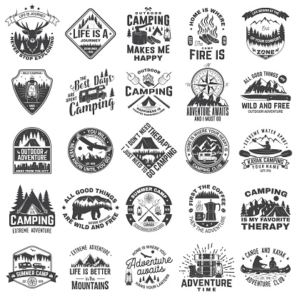 Set of outdoor adventure inspirational quote. Vector. Concept for shirt, logo, print, stamp or tee. Vintage typography design with camper tent, mountain, forest landscape silhouette.