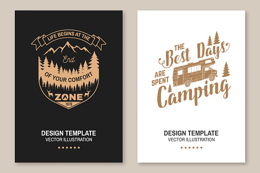 Set of outdoor adventure inspirational quote. Vector Concept for shirt, logo, print, stamp or tee. Vintage typography design with camper tent, camper van, mountain, forest landscape silhouette