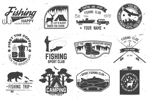 Set of outdoor adventure patches with inspirational quotes, fishing club badges. Vector. Concept for shirt or print, stamp or tee. Vintage design with rv trailer, camping tent, fish rod, bear.