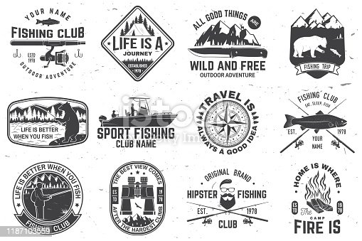 Set of outdoor adventure patches with inspirational quotes and fishing club badges. Vector. Concept for shirt or print, stamp or tee. Vintage design with rv trailer, camping tent, fish rod, bear.