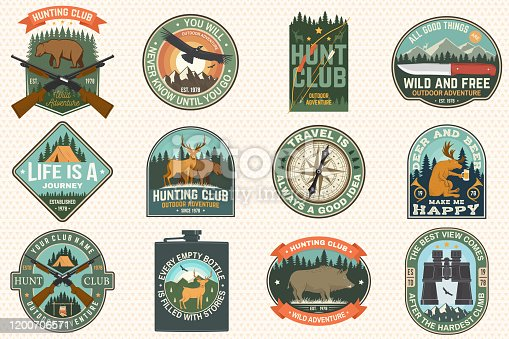 Set of outdoor adventure quotes and Hunting club patches. Vector Concept for shirt, logo, print, stamp, patch. Patch design with rknife, mountains, deer, flask, hunter, forest and mountains silhouette
