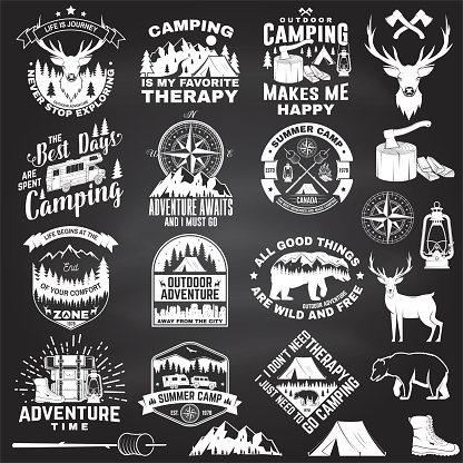 Set of outdoor adventure quotes symbol. Vector. Concept for shirt or logo, print, stamp, tee. Vintage design with hiking boots, camping tent, lantern, axe, mountains, bear, deer, forest silhouette