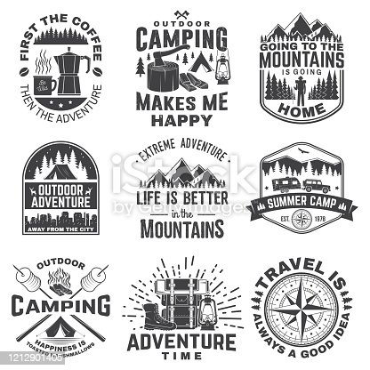 Set of outdoor adventure quotes symbol. Vector illustration. Concept for shirt or logo, print, stamp or tee. Vintage design with marshmallow, axe, mountains, deer, tent, compass and forest silhouette