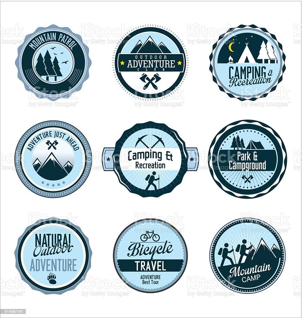 Set of outdoor adventure retro blue labels vector art illustration