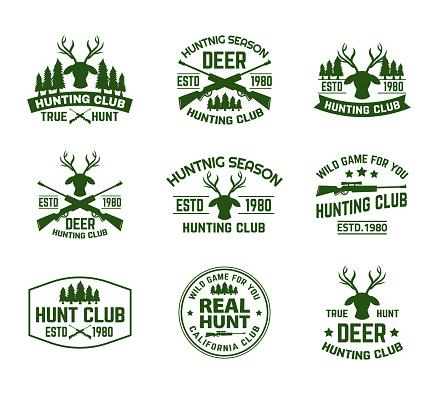 Set of outdoor camping badges with deer head