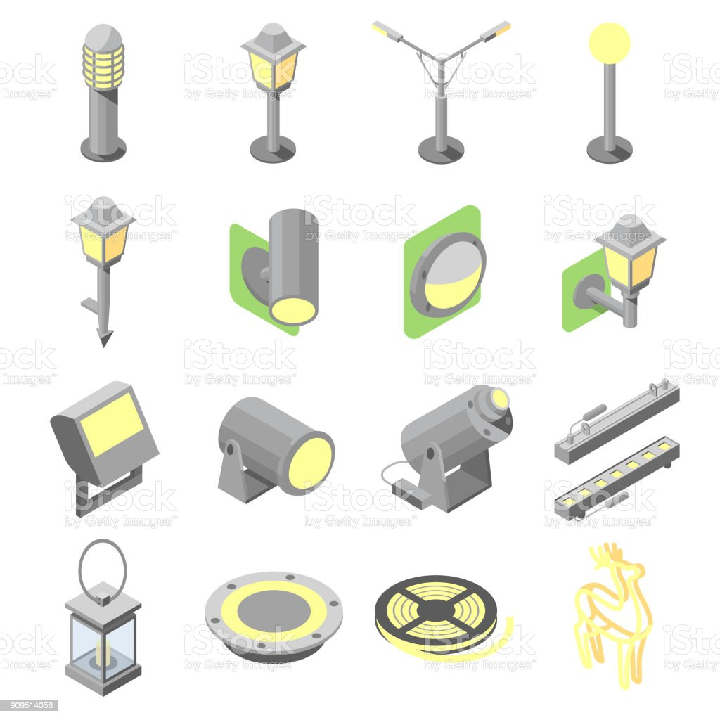 Set of outdoor lights icons in isometric view vector art illustration