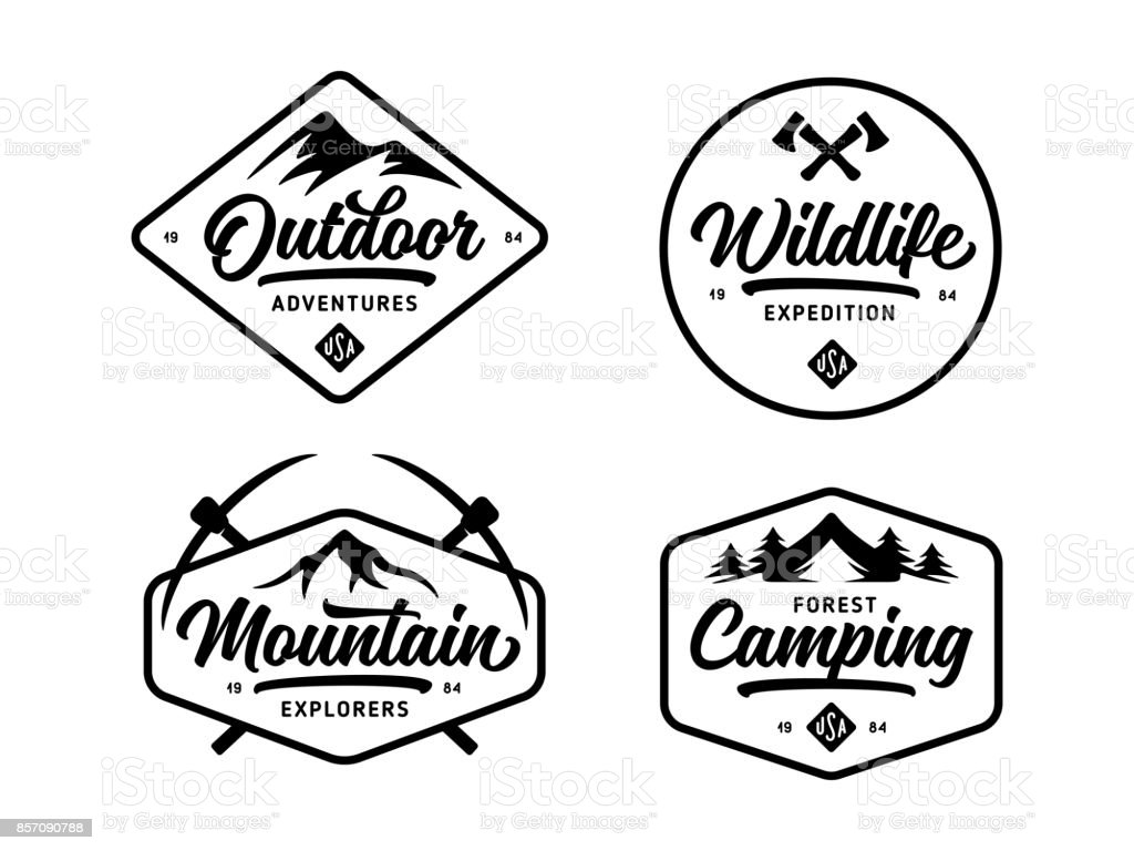Set of outdoor wild life related labels badges emblems. Vector vintage illustration. royalty-free set of outdoor wild life related labels badges emblems vector vintage illustration stock illustration - download image now