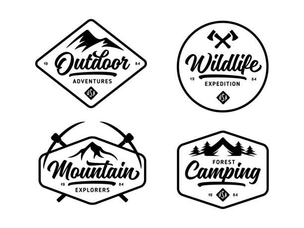 ilustrações, clipart, desenhos animados e ícones de conjunto de vida selvagem ao ar livre relacionadas com emblemas distintivos de rótulos. ilustração em vetor vintage. - exterior