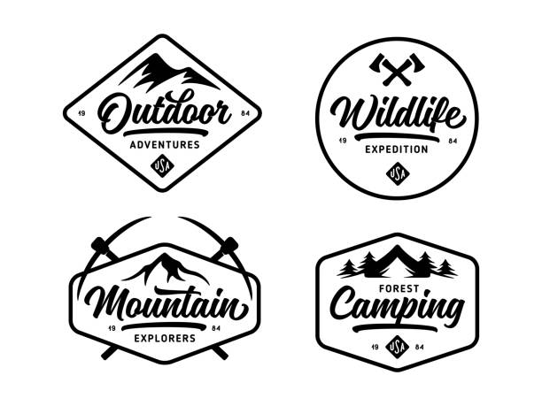 set of outdoor wild life related labels badges emblems. vector vintage illustration. - vintage nature stock illustrations, clip art, cartoons, & icons