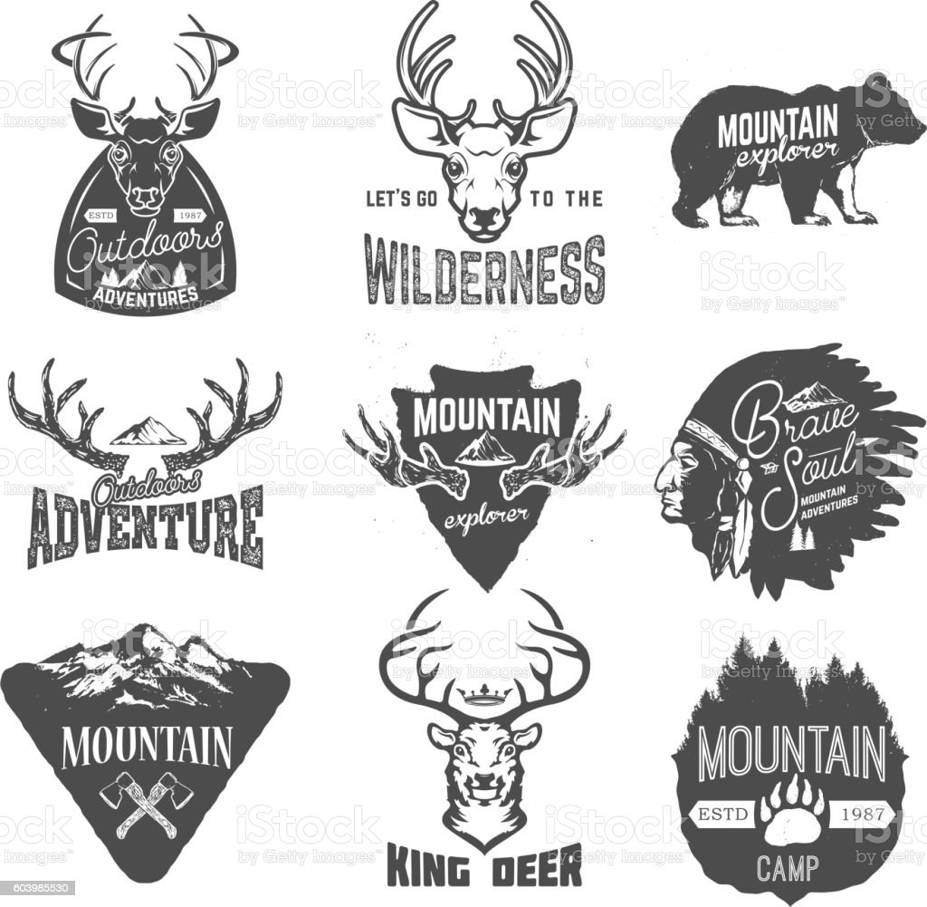 Set of outdoors adventures, mountains exploration labels vector art illustration