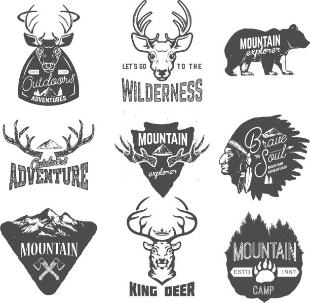 set of outdoors adventures, mountains exploration labels - landschaftstattoo stock-grafiken, -clipart, -cartoons und -symbole