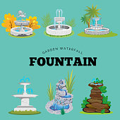Set of outdoors fountain for gardening, spring and summer plants around garden waterfall, autumn back yard decorative stone statue vector illustration.