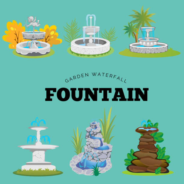 set of outdoors fountain for gardening, spring and summer plants around garden waterfall, autumn back yard decorative stone statue vector illustration - fontanna stock illustrations