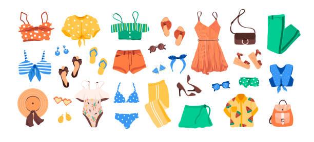 ilustrações, clipart, desenhos animados e ícones de jogo do criador do equipamento com roupa das mulheres da forma do verão, sapatas, acessórios - roupa de natação