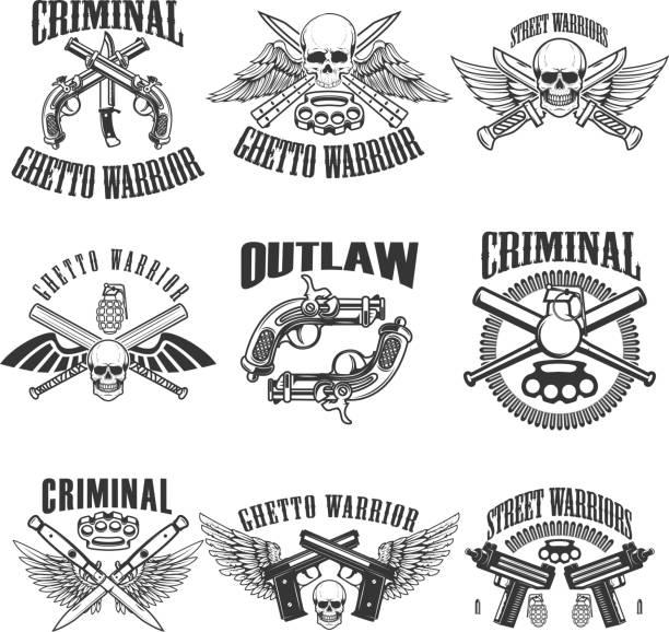 set of outlaw, criminal, street warrior emblems. skulls with wings, guns and swords. design elements for label, emblem, sign, poster, t-shirt. vector illustration - gangster stock illustrations, clip art, cartoons, & icons