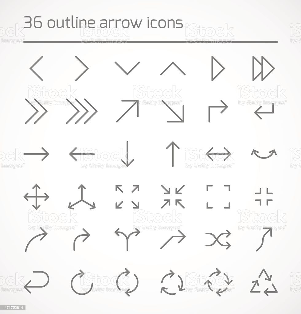 Set of outline arrow icons vector art illustration