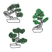 Set of outline bonsai trees with green leaves, vector hand draw illustration for design and creativity