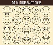 Set of outline emoticons, emoji isolated on white background.