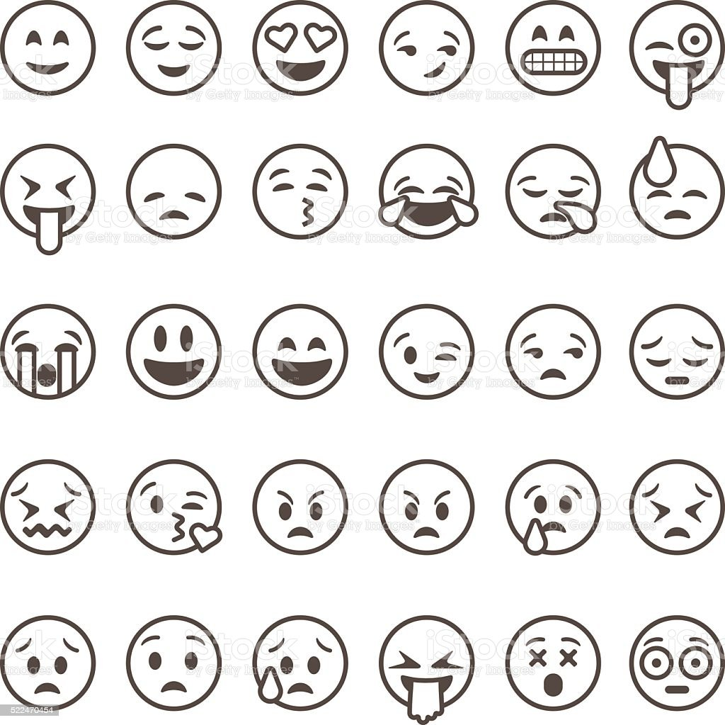 Set Of Outline Emoticons Emoji Isolated Stock Vector Art