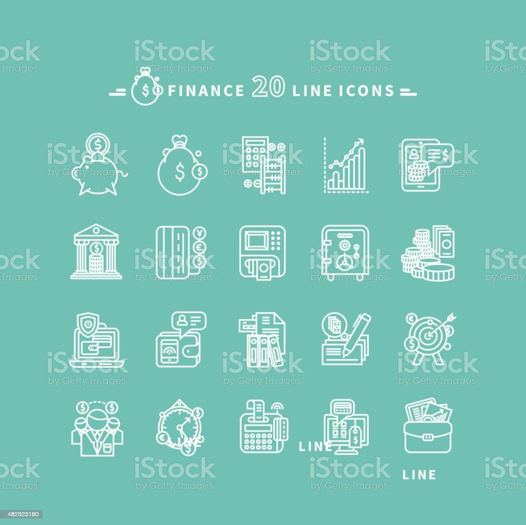 Set of Outline Finance Icons vector art illustration
