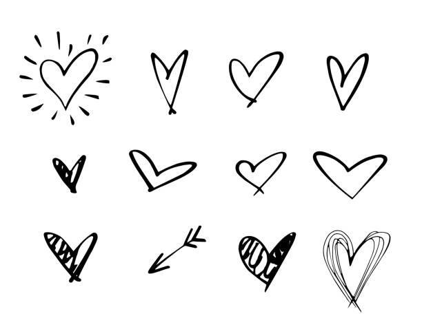 zestaw ikony ręcznie rysowanego serca konturu. ręcznie rysowany doodle grunge zestaw wektora serca. szorstkie markery serca izolowane na białym tle. wektorowe. unikalna strzałka namalowana.ręcznie rysowana - bazgroły rysunek stock illustrations