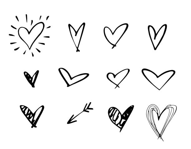 set of outline hand drawn heart icon.hand drawn doodle grunge heart vector set.rough marker hearts isolated on white background. vector heart collection.unique painted.hand drawn arrow - szkic rysunek stock illustrations