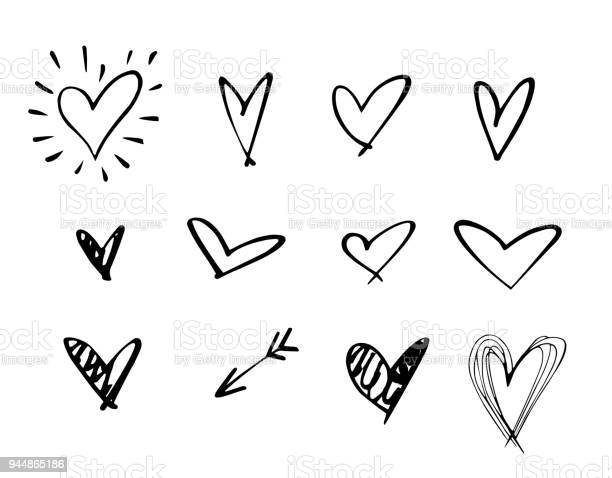 Set Of Outline Hand Drawn Heart Iconhand Drawn Doodle Grunge Heart Vector Setrough Marker Hearts Isolated On White Background Vector Heart Collectionunique Paintedhand Drawn Arrow - Arte vetorial de stock e mais imagens de Acariciar
