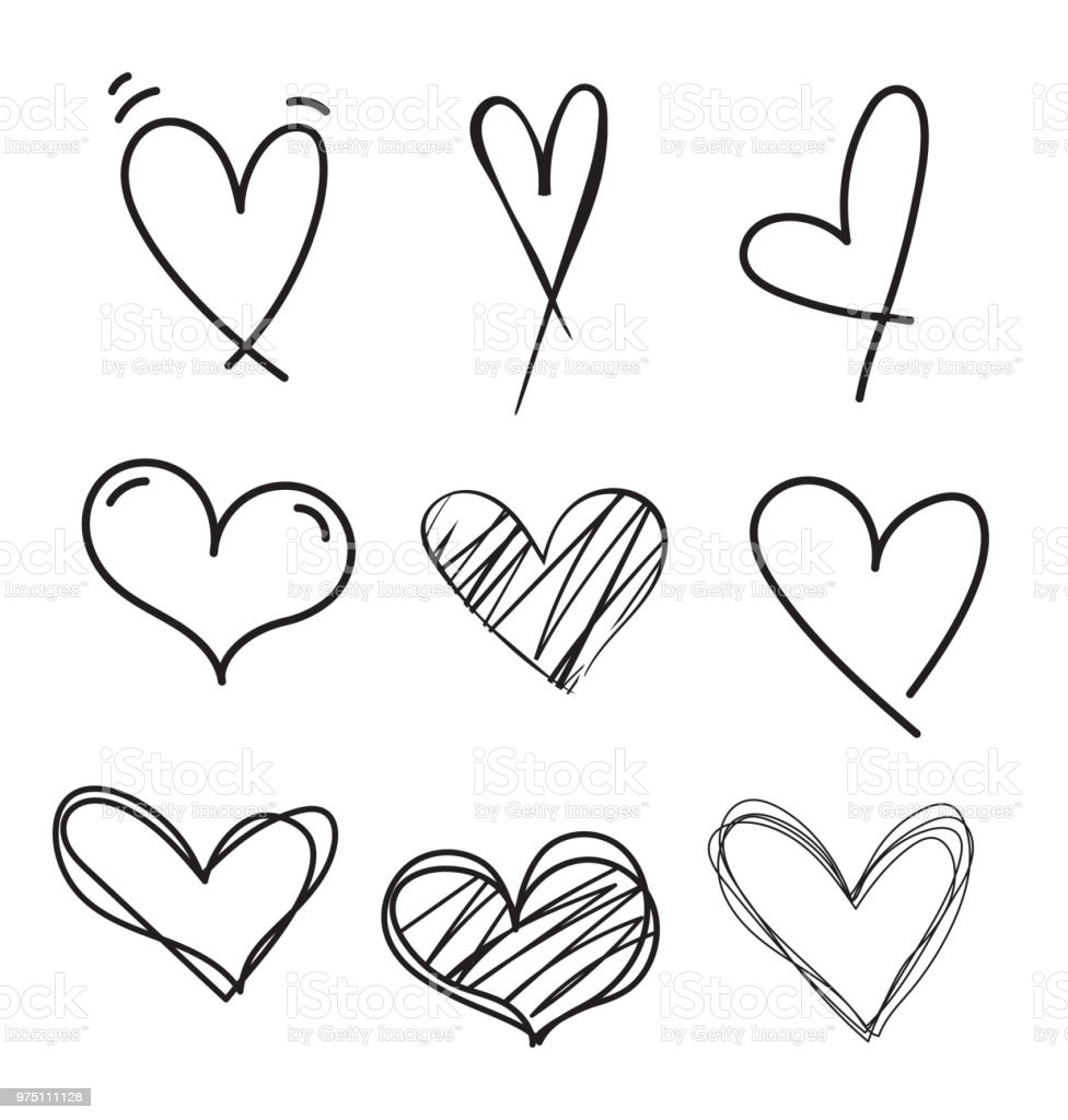 Set Of Outline Hand Drawn Heart Iconhand Drawn Doodle ...