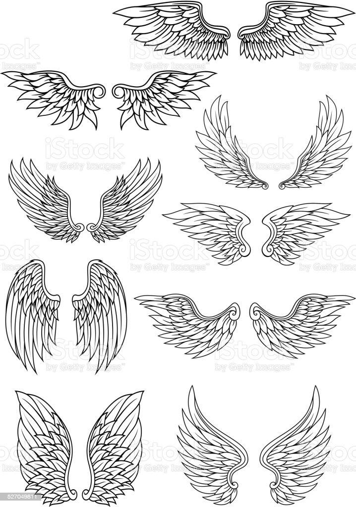 Set of outline heraldic wings vector art illustration