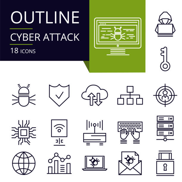 Set of outline icons of Cyber Attack. Modern icons for website, mobile, app design and print. hacker stock illustrations