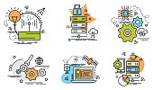 Set of outline icons of Data Center. Set of outline icons of Data Center.