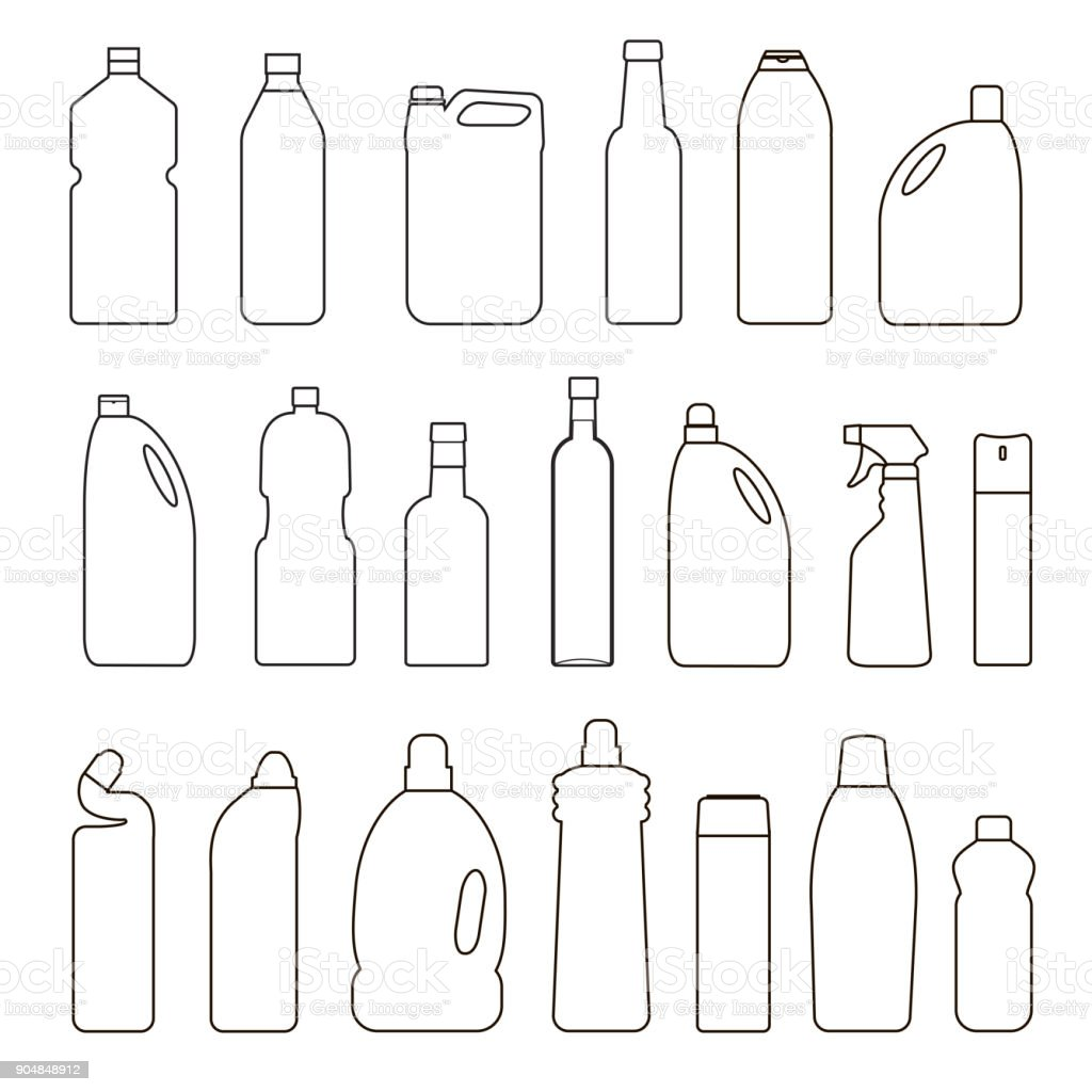 Set of outline illustration bottles, cans, container vector art illustration