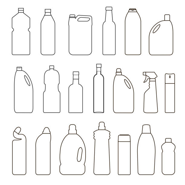 set of outline illustration bottles, cans, container - disinfectant stock illustrations