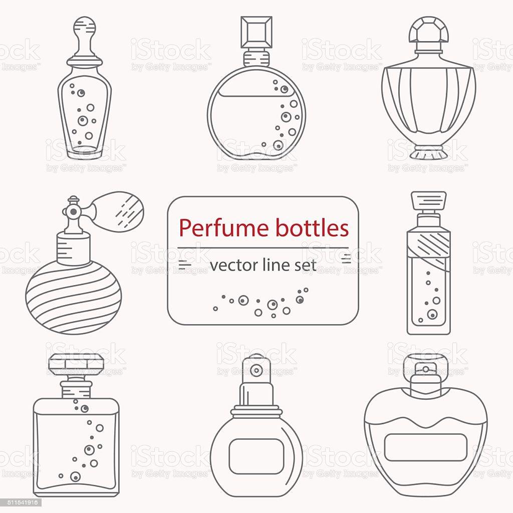 Contorno Conjunto de perfume garrafa de ícones - ilustração de arte em vetor