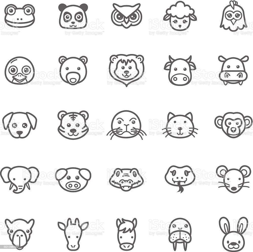 Set of Outline Stroke Animal Icons vector art illustration