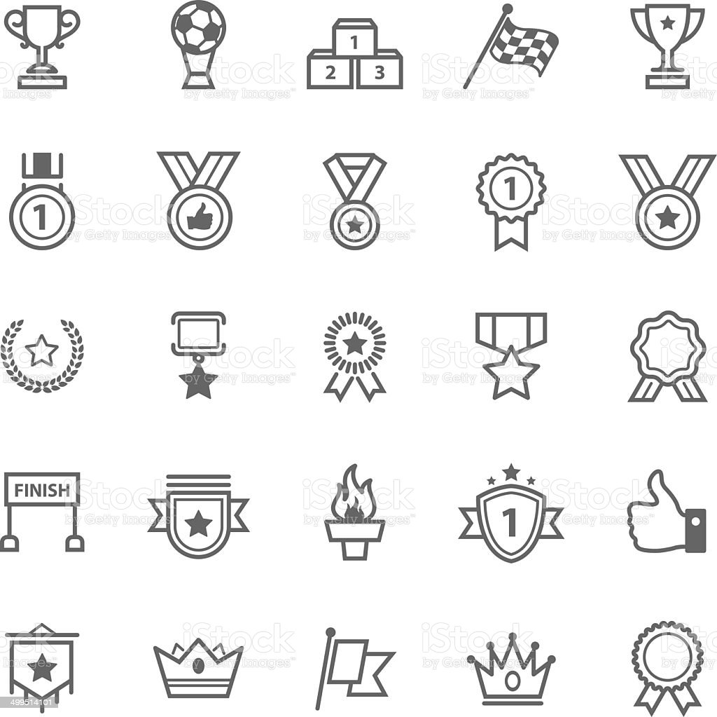 Set of Outline Stroke Award and Trophy Icons vector art illustration