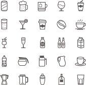 Set of Outline Stroke Beverage icon Vector illustration
