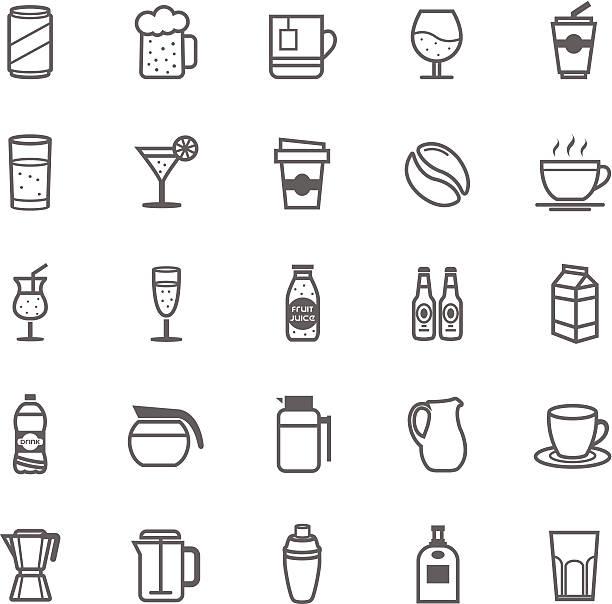 illustrazioni stock, clip art, cartoni animati e icone di tendenza di set di icona sagoma ictus e bevande - camellia sinensis