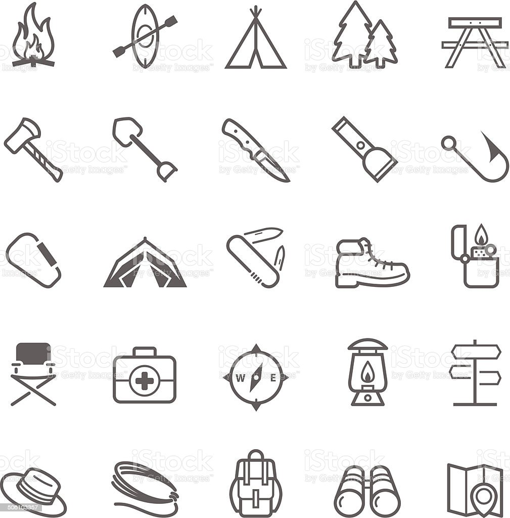 Set of Outline stroke Camping icons vector art illustration