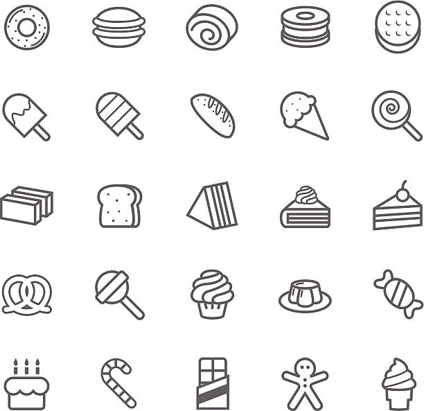 set of outline stroke dessert and sweet icon - cinnamon roll stock illustrations, clip art, cartoons, & icons