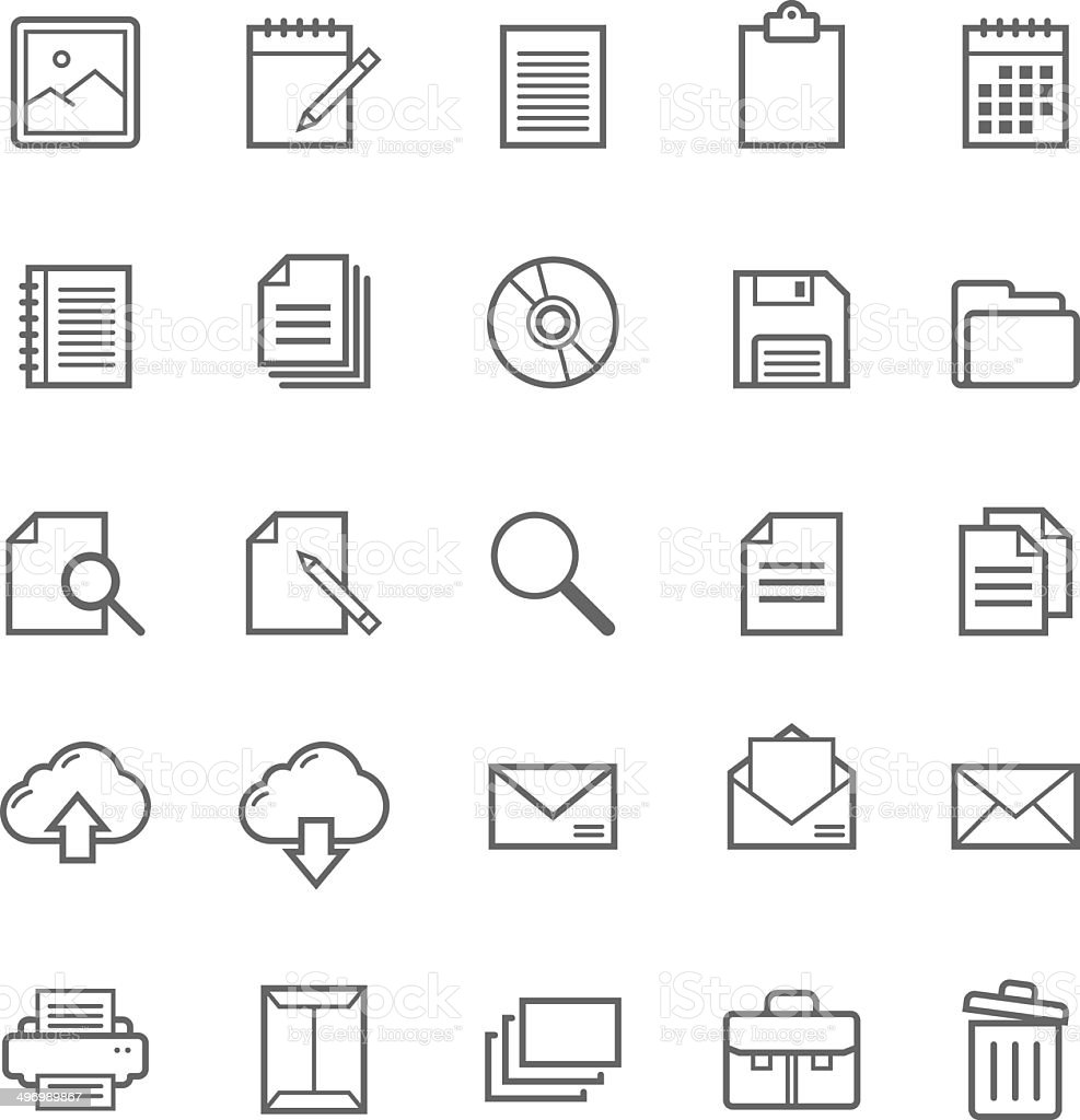 Set of Outline stroke document icon vector art illustration