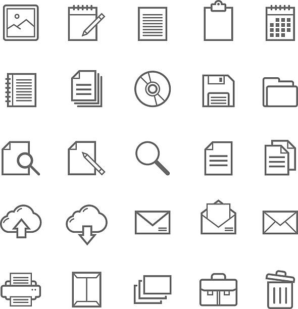 stockillustraties, clipart, cartoons en iconen met set of outline stroke document icon - red