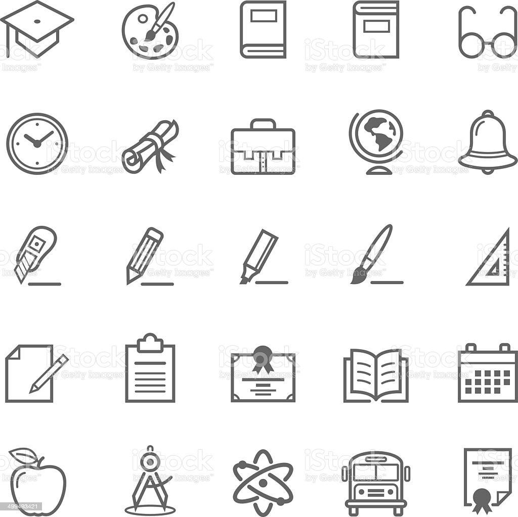 Set of Outline stroke Education icon vector art illustration