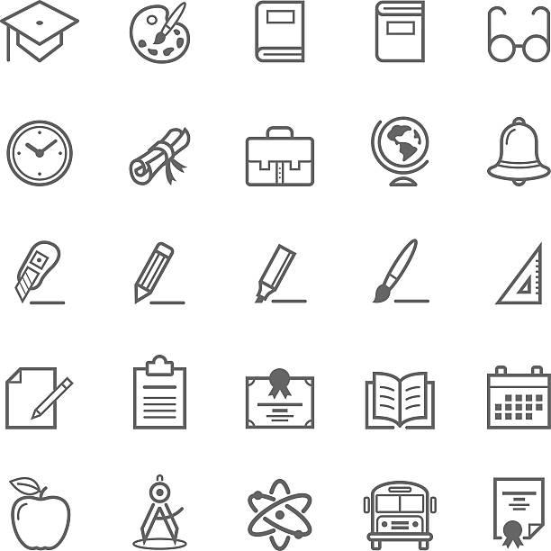 kontur schlaganfall bildung-set-icon - hausfarbpaletten stock-grafiken, -clipart, -cartoons und -symbole