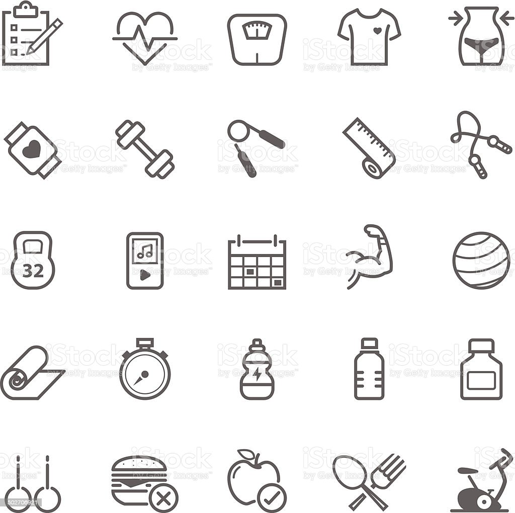 Set of Outline stroke Fitness icons vector art illustration
